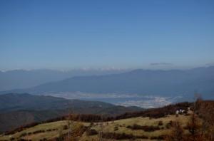 諏訪湖と後立山連峰(入笠山)
