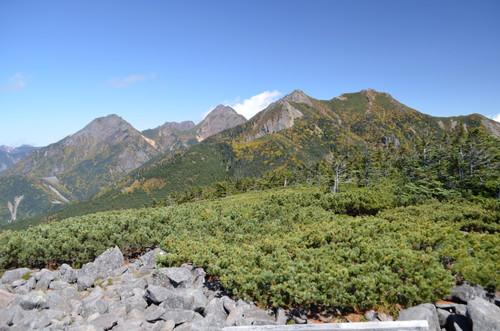 編笠山山頂より権現岳、赤岳の展望