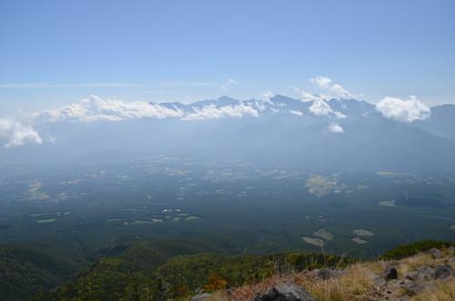 編笠山山頂から見る南アルプス