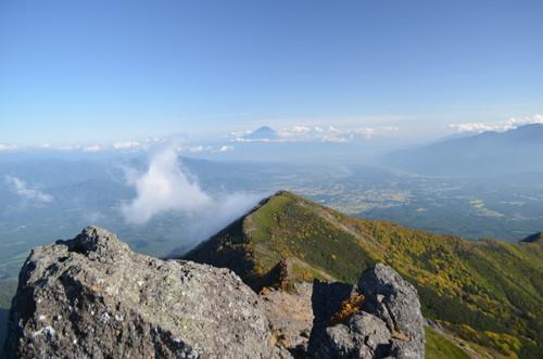 権現岳山頂から富士山の眺め