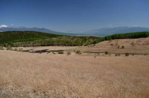 踊場湿原と八ヶ岳、富士山