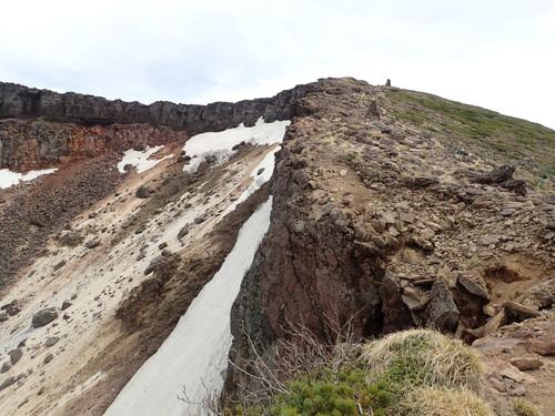 爆裂火口のわきの登山道
