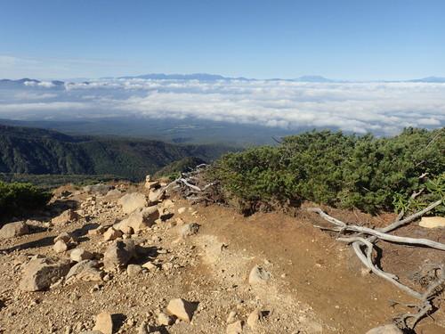 西天狗から見る中央アルプス、御嶽山