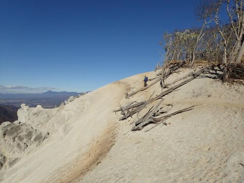 白い砂浜の日向山山頂
