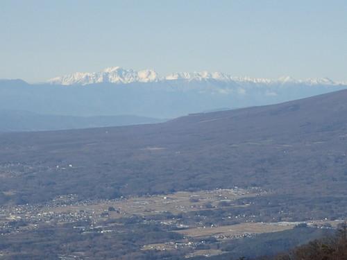 茅ヶ岳山頂から見る槍ヶ岳・穂高