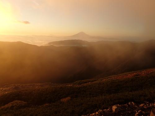 ご来光と富士山
